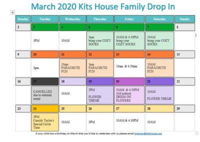 Family Drop In March Calendar